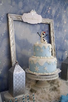 Lovely cake at a Frozen girl birthday party!  See more party ideas at CatchMyParty.com!