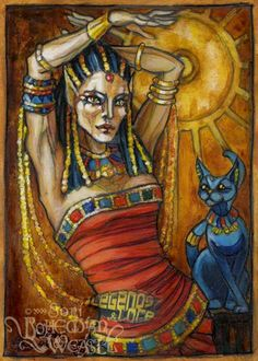 Bast – originally a lioness and solar deity, later became associated with the moon and little kitties. by Soni Alcorn-Hender