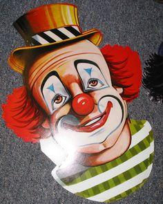 Vintage Circus Clown Faces Cutout Decorations por TheVintageEvent