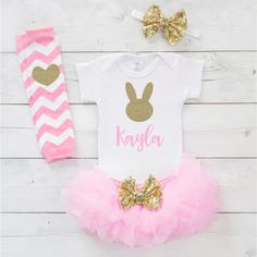 b16bbd8ba834 My First Easter Outfit Girl Newborn Easter Outfit Personalized Baby Girl  First Easter Outfit Infant 1st Easter Pink and Gold E013S