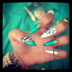 Aqua color nails, the nail color trends for summer.Beautiful summer nail art and summer nail designs and pictures for inspiration. All new nail designs, for easy nail art and advanced nail art. Nail Swag, Easy Nails, Simple Nails, Funky Nails, Trendy Nails, Colorful Nails, Cute Nail Designs, Acrylic Nail Designs, Acrylic Nails