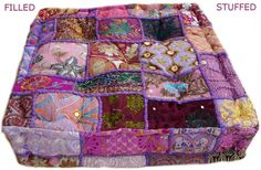Filled  & Stuffed Indian Handmade Floor Cushion; Pouf Ottoman; Pouffe pouffes, Square Pouf, Floor Pillow Ottoman
