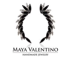Handmade Jewelry Boutique Online shop by MayaValentino Ear Crawler Earrings, Cuff Earrings, Black Earrings, Climbing Earrings, Ear Piercings, Handmade Jewelry, Swarovski, Etsy, Climber