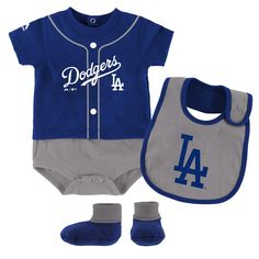 Outerstuff Los Angeles Dodgers Small Fan Baby//Infant 3 Piece Creeper Set