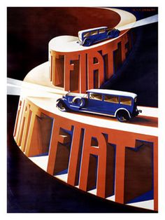 Art Deco Fiat Poster. @Deidré Wallace (Art Deco or deco, is an eclectic artistic and design style that began in Paris in the 1920s and flourished internationally throughout the 1930s and into the World War II era.The style influenced all areas of design, including architecture and interior design, industrial design, fashion and jewelry, as well as the visual arts such as painting, graphic arts and film)