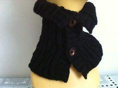 Knitting Cowl Neck Warmer Scarf Button Cowl Scarf by zahraknitting, $19.90