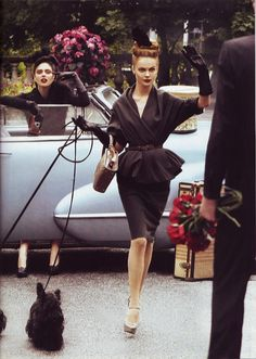 Coco Rocha & Viktoriya Sasonkina for US Vogue - I just love the black suit dress, esp the top!