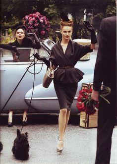 Coco Rocha & Viktoriya Sasonkina for US Vogue - I just love the black suit dress, esp the top!