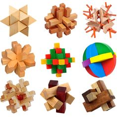 Kong Ming Luban Blocco Cinese Tradizionale Giocattolo Unico 3D Puzzle di Legno Classico Intellettuale Cubo di Legno Giocattolo Educativo Set
