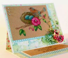 Nesting Bird Card by A Bushel and a Hug stamps from www.techniquejunkies.com