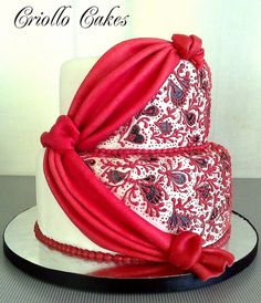 wedding cake by loracia 2 Tier Wedding Cakes, Funny Wedding Cake Toppers, Gorgeous Cakes, Amazing Cakes, Henna Cake, Red And White Weddings, Engagement Cakes, Dream Cake, Just Cakes
