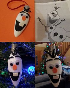 Made an Olaf Ornament from an old light bulb. #frozen #olaf #DIYornament