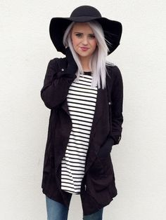    Black Hooded Jacket   Stripe Raglan Tee   Floppy Hat    - Seven & Co Boutique #sevenandcoboutique #blackhoodedjacket #blacktrenchcoat #trenchcoatjacket #blacktrenchcoatjacket #silverhair #greyhair #grayhair