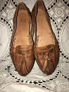 303c6da3d5d8 Details about VTG Huarache Sandal Shoe Strappy Brown Woven Leather Size 9.  Huaraches Shoes