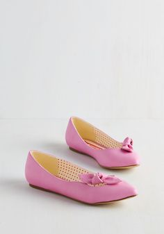 Take On Timeless Flat in Pink. Put a charming spin on your everyday ensembles with these bubblegum-pink flats from Bait Footwear! #pink #modcloth