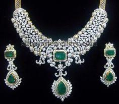 Jewellery Designs: Sparkling Latest Broad Choker