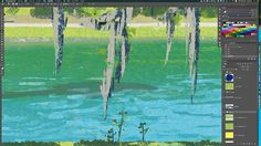 Spanish moss #spanishmoss #america #river #canoe #family #people #tatsurokiuchi #art #illustration #process #summer