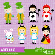WONDERLAND Digital Clipart Alice in Wonderland ClipArt by grafos