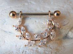 Rose Gold Marquise Vine Surgical Steel Nipple Ring one) Cute Jewelry, Etsy Jewelry, Industrial Piercing, Nipple Rings, Barbell, Belly Button Rings, Vines, Rose Gold, Stud Earrings