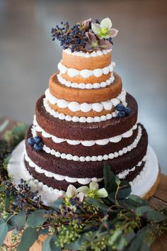 "Round Wedding Cakes - Ombre deconstructed ""naked"" cake"