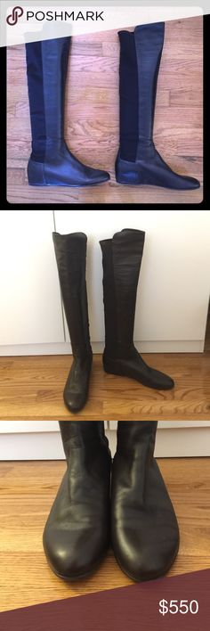 SALE Stuart Weitzman 5050 Mainline over knee boots Stewart Weitzman Mainline 5050 over knee boots. Worn twice. In excellent condition. Color is dark brown. Size 10 medium. Excellent boots for an calf size because of the stretch material on the back! Open to offers! Stuart Weitzman Shoes Over the Knee Boots