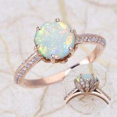 Rose Gold Engagement Rings Opal Engagement Ring Lotus Flower