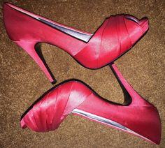 "Lulu Townsend Red Satin Ladies High Heel Shoes Open Toe Size 8 Heel 4.5"" High"