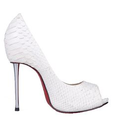 Christian Louboutin Big Lips 120mm Python Peep Toe Pumps White