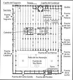 Mezquita de Cordoba. Planta arquitectónica. Se aprecia el Patio de lis Naranjos, la Sala Hipóstile, y la posterior catedral cristiana, entre otras.