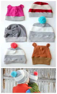 ribbed beanie kid's hat free pattern (by delia creates for this heart of mine) Sewing Kids Clothes, Sewing For Kids, Baby Sewing, Sewing Patterns Free, Sewing Tutorials, Free Pattern, Old Sweater Diy, Upcycled Sweater, Alter Pullover