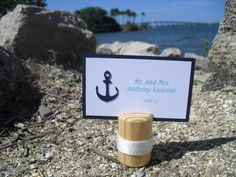 Escort Card Holders - SET OF 10 Nautical Wood Beach Wedding Place Card Holders - Item 1165. $28.00, via Etsy.