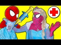 Frozen Elsa DOCTOR Spidergirl Spiderbaby Elsa sick Spiderman Doctor Supe...