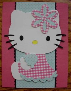 Image detail for -Handmade Pink Hello Kitty Birthday Card by Craftykitten on Etsy