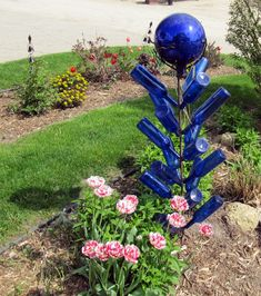 Blue Crackle Glass Gazing Ball Bottle Tree