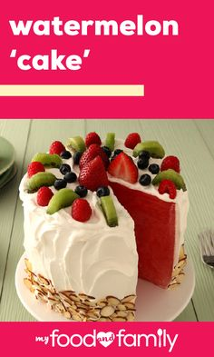 Watermelon Cake – A favorite summer fruit—watermelon—creates the base for this stunning dessert recipe! Along with COOL WHIP for frosting and fresh fruit as decoration, this no-bake sweet treat comes together in no time. Fruit Recipes, Cake Recipes, Dessert Recipes, Recipies, Just Desserts, Delicious Desserts, Yummy Food, Food Cakes, Cupcake Cakes