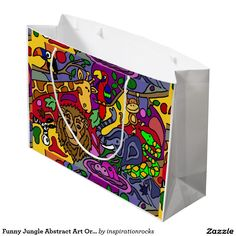 Funny Jungle Abstract Art Original Large Gift Bag