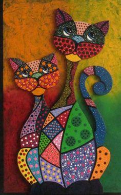 Gatos en puntillismo Mandala Art, Stencils Mandala, Mandala Painting, Dot Painting Tools, Dot Art Painting, Paper Mache Animals, African Art Paintings, Haitian Art, Cat Quilt