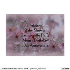 Customizable Pink Floral Invitation