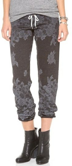 Monrow Lace Print Vintage Sweatpants - women's fashion / activewear clothing apparel (tonal lace print sportswear)