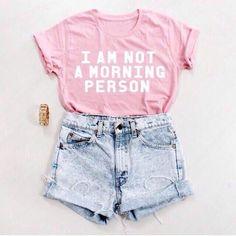 A Rosa Que Eu Não sou Uma Pessoa Da Manhã Camisa Tumblr T-shirt TEE mulheres T-Shirt de Algodão de verão