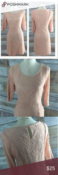 {Anthropologie} Blush Lace Maeve Shift This is such a gorgeous dress--pre-loved, gently worn with lots of life left. Beautiful delicate pink lace overlay covers entire body of dress--fully lined with nude stretch jersey underslip; lovely sheer 3/4 length sleeves....and the best part? Pockets!! Front side pockets add a little playfulness and lots of convenience. This is one of my very favorite anthropologie labels, & this classic beauty is perfect for a work event, wedding, dinner out...you…