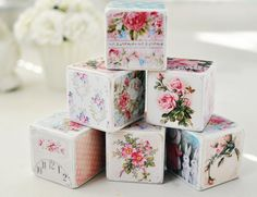 Shabby Chic Decorative Blocks by birdsANDblossomsGift on Etsy