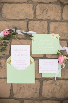 mint and gold invitations
