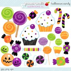 Halloween Candy Cute Digital Clipart - Commercial Use OK - Halloween Clipart, Halloween Graphics, Halloween Candy, Candy Clipart