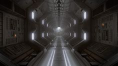 Sci-fi Corridor, Dark vs light blend going on here, I will use similar techniques but overall will be darker than this,
