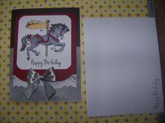 Handmade Carousel Horse Birthday Card in Gray by TheHandmaidenofNC, $4.50
