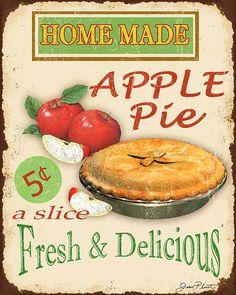 Vintage Apple Pie Sign Print By Jean Plout