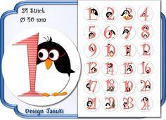 selbstklebende Zahlen Adventskalender Pinguin von Jasuki auf DaWanda.com
