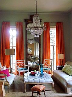 This is the room that started my obsession with orange curtains for my home!!!!!!