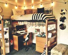 Artsy Dorm with Desk Under Bed